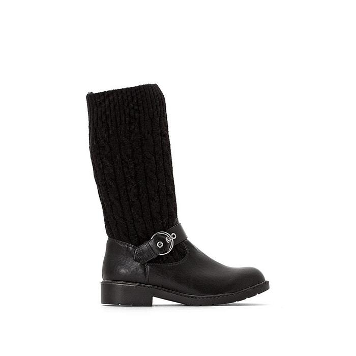 deb9bc48555b5 Bottes chaussette bi-matière noir La Redoute Collections   La Redoute