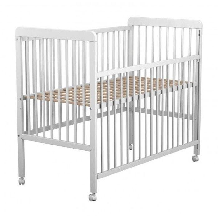 lit b b coulissant en bois laqu blanc baby fox avec roulettes 3 hauteurs 60 x 120 cm couleur. Black Bedroom Furniture Sets. Home Design Ideas