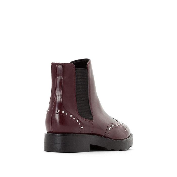 Boots bout fleuri clouté, Noir