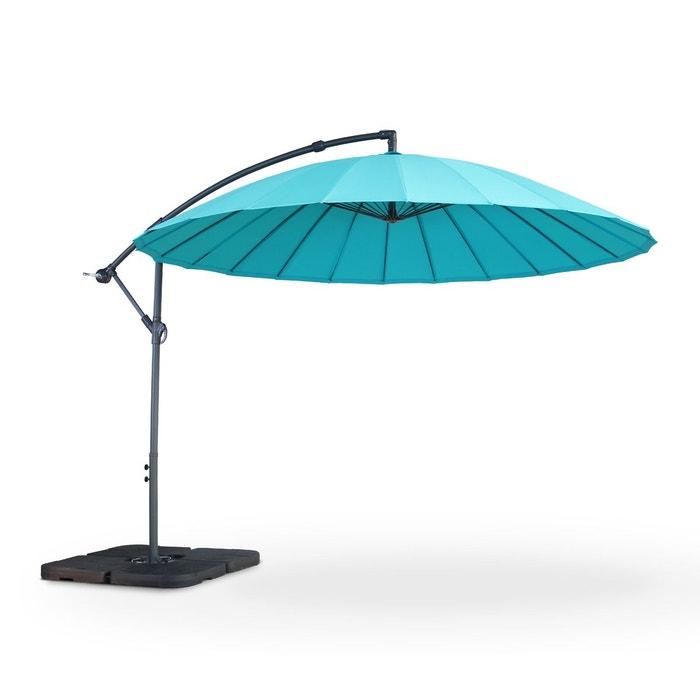 parasol d port shanghai rond 3m turquoise baleines fibre de verre et manivelle turquoise alice. Black Bedroom Furniture Sets. Home Design Ideas