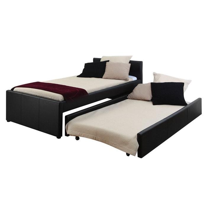 lit gigogne 90x190cm macco noir miliboo la redoute. Black Bedroom Furniture Sets. Home Design Ideas