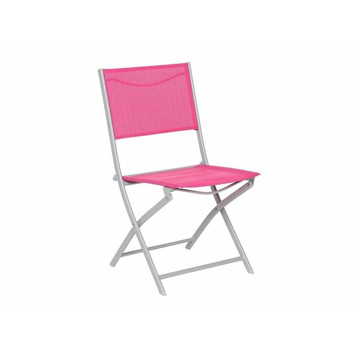Chaise de jardin pliante m tal modula framboise gris mat couleur unique hespe - La redoute chaise de jardin ...