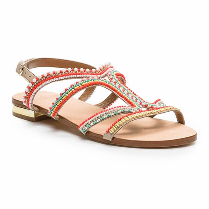 Sandales plates cuir et perles iba multicolore Cosmoparis