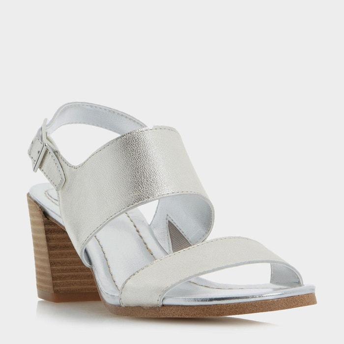 Sandales à talons bottier et bride arrière - jesica  silver cuir Dune London  La Redoute