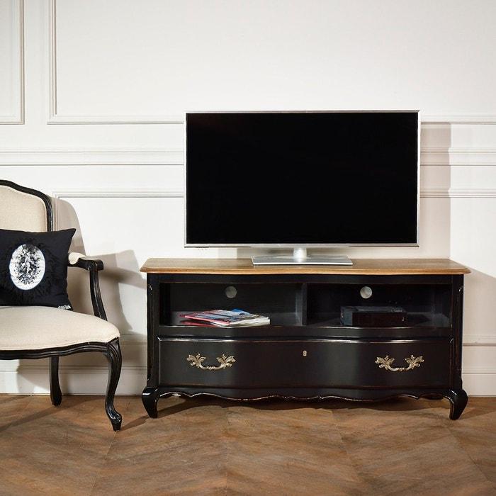 Meuble tv serrena 2 niches 1 tiroir noir patine antiquaire noire vieillie robin des bois - Meuble robin des bois ...