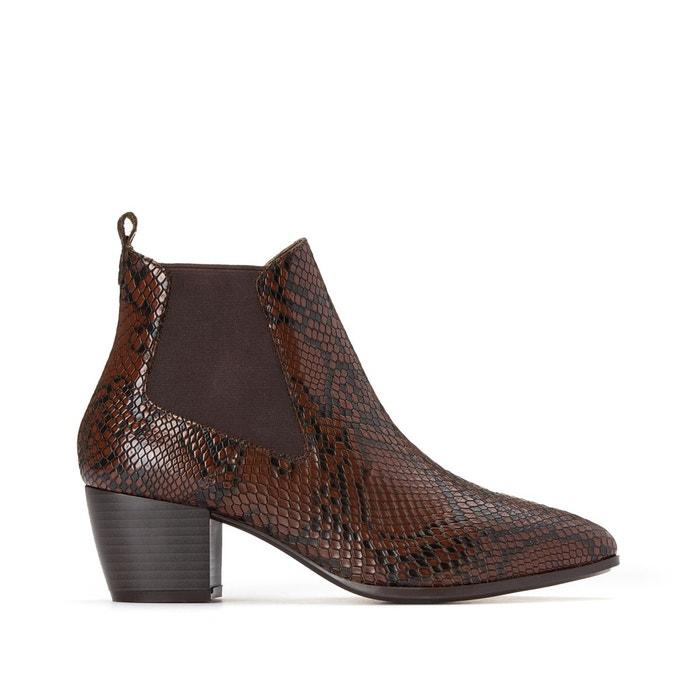 Boots cuir façon python Eva