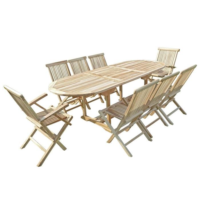Ensemble salon de jardin en teck mahui 6 chaises 2 fauteuils naturel ...