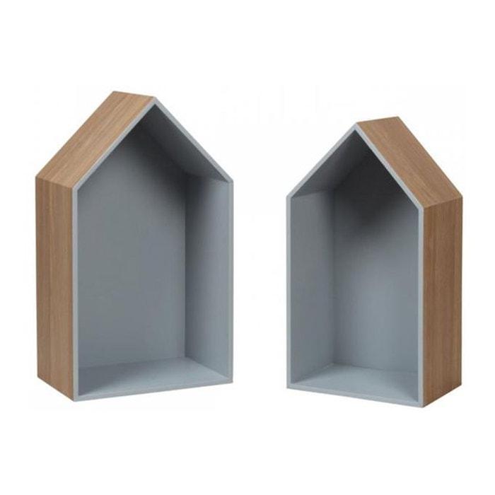 Set de deux tag res murales en bois grises maison gris declikdeco la redoute - Etagere maison en bois ...