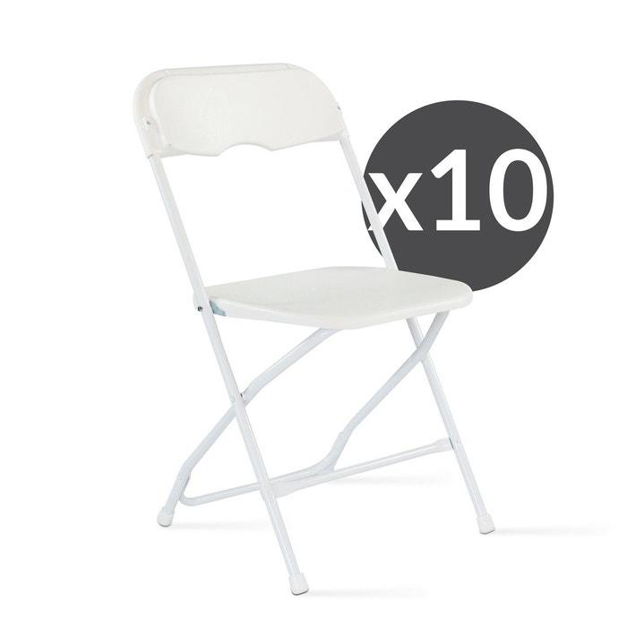 lot de 10 chaises pliantes blanche mobeventpro la redoute. Black Bedroom Furniture Sets. Home Design Ideas