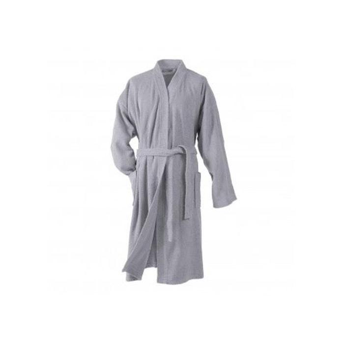 peignoir uni col kimono en eponge gris home bain la redoute. Black Bedroom Furniture Sets. Home Design Ideas