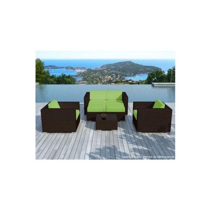 Salon de jardin choco vert en r sine tress e amin vert - La redoute table de jardin en resine tressee ...