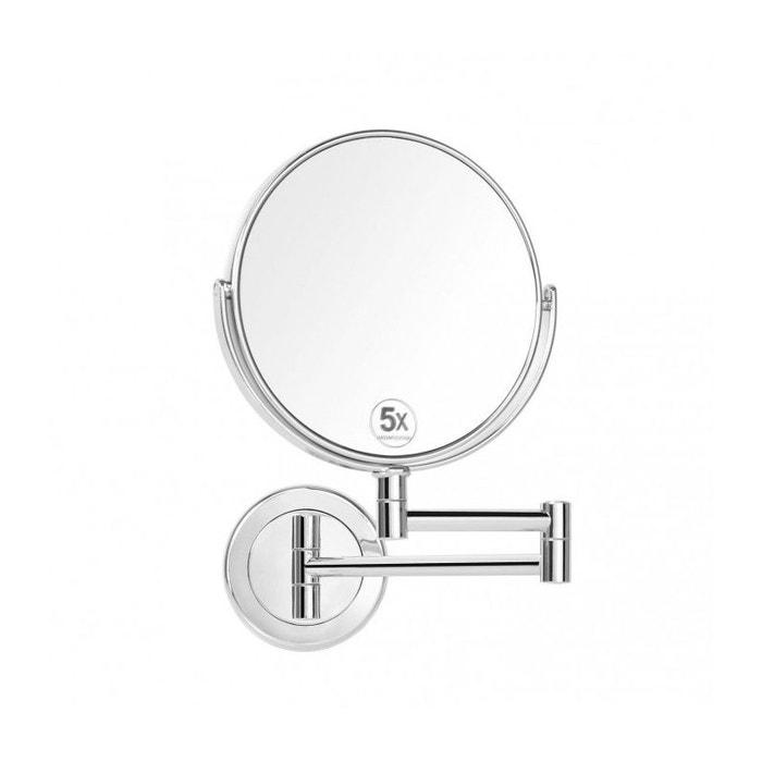 miroir grossissant double face rond x5 sur bras extensible argent wadiga la redoute. Black Bedroom Furniture Sets. Home Design Ideas