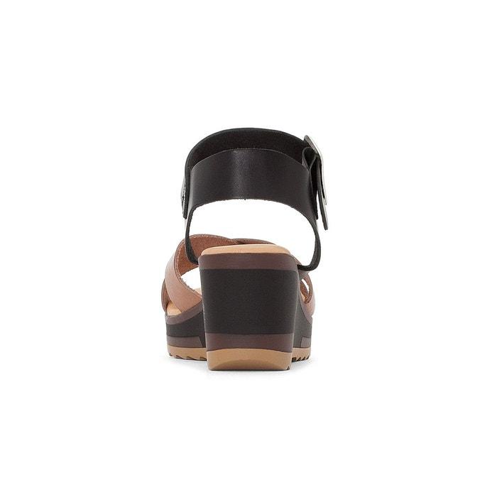 Sandales cuir compensées wind camel-noir Kickers