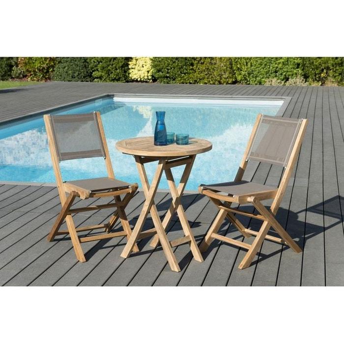 Salon de jardin teck table d60 + 2 chaises pliantes summer ref ...
