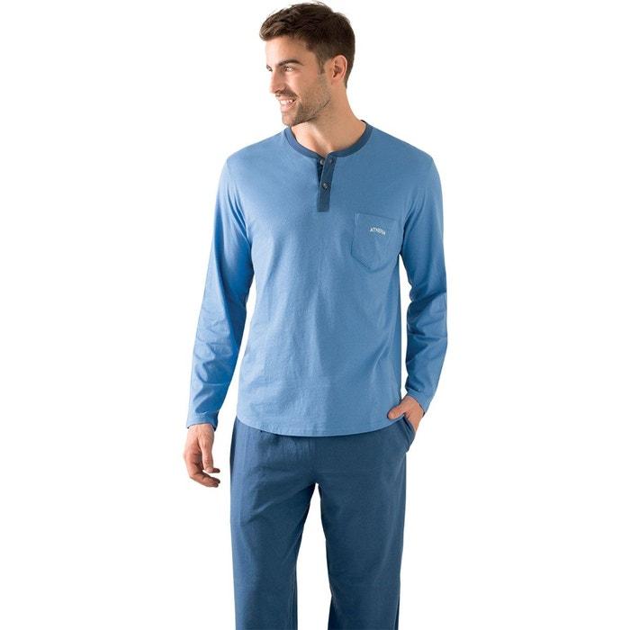 pyjama homme long bio bleu bleu athena la redoute. Black Bedroom Furniture Sets. Home Design Ideas