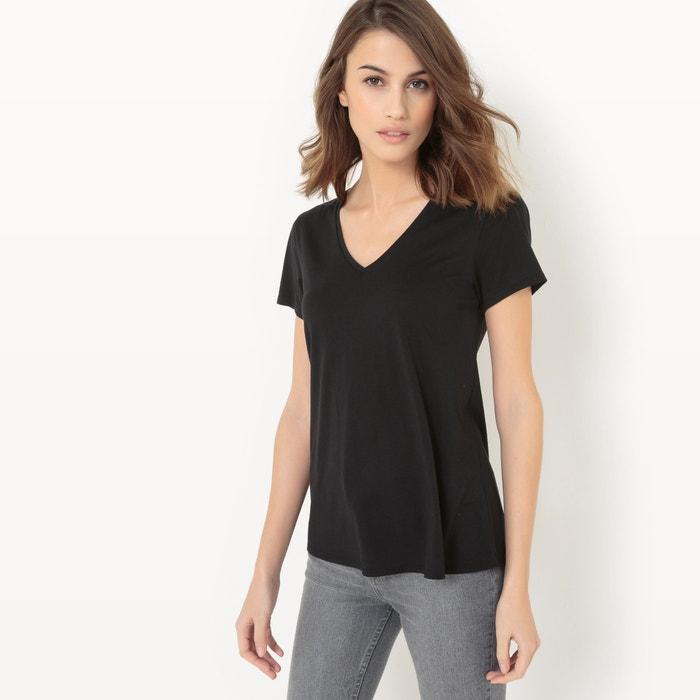 afbeelding T-shirt met V-hals, katoen/modal atelier R