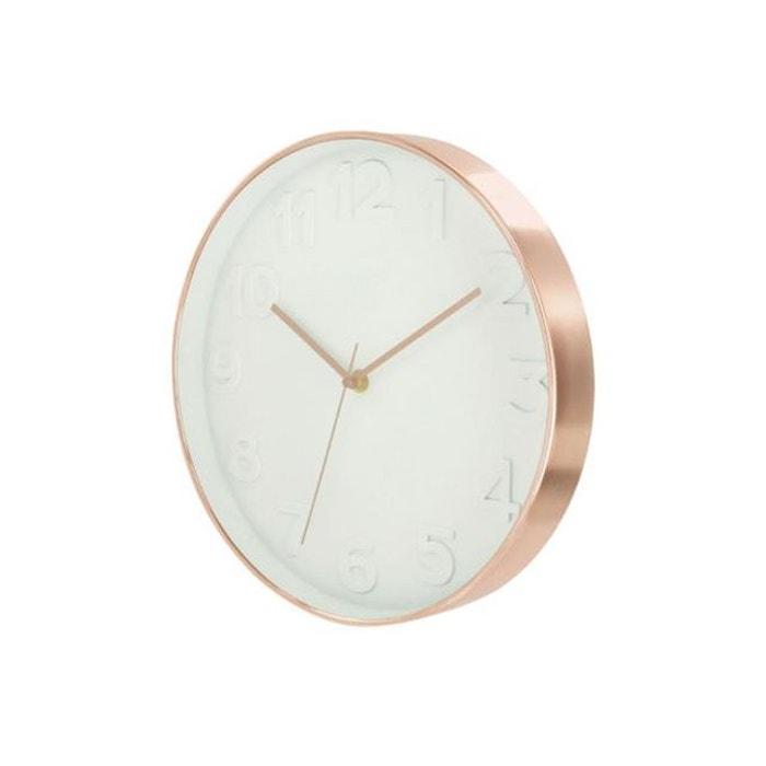 Horloge Ronde Blanche Et Cuivre D30 SANDUHR DECLIKDECO