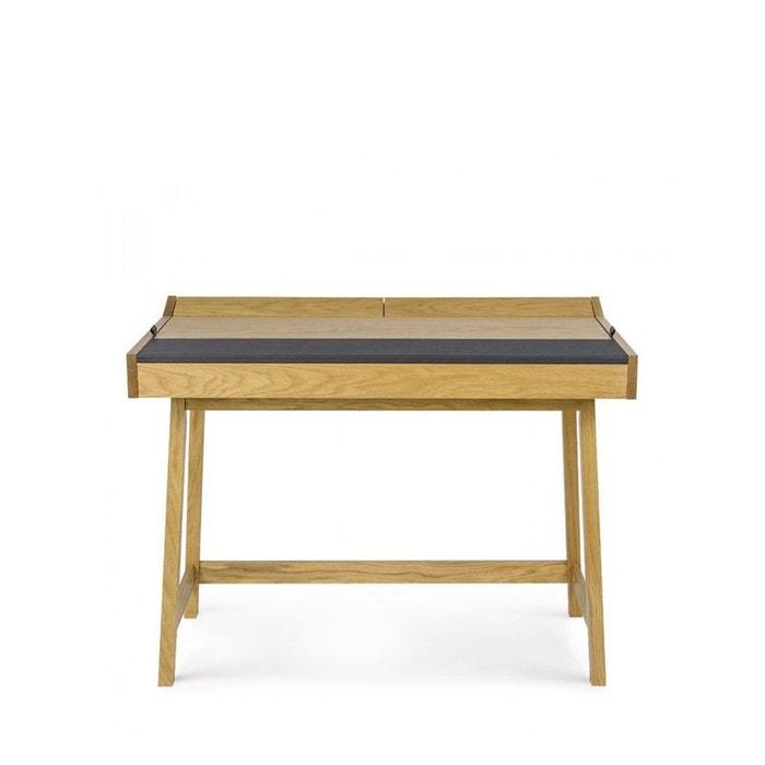 bureau vintage ch ne et cuir brompton bois clair woodman la redoute. Black Bedroom Furniture Sets. Home Design Ideas