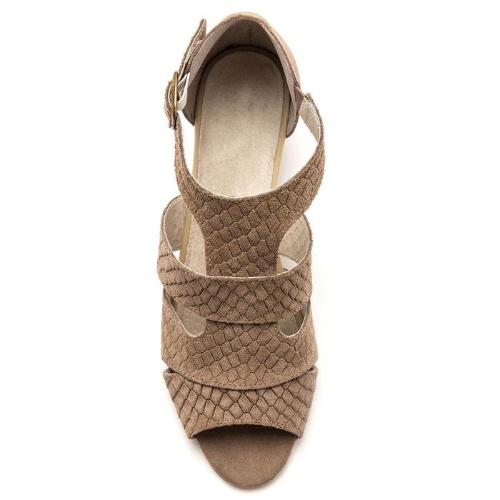 Sandales cuir velours à boucle, aérosemelle® beige moyen Pediconfort