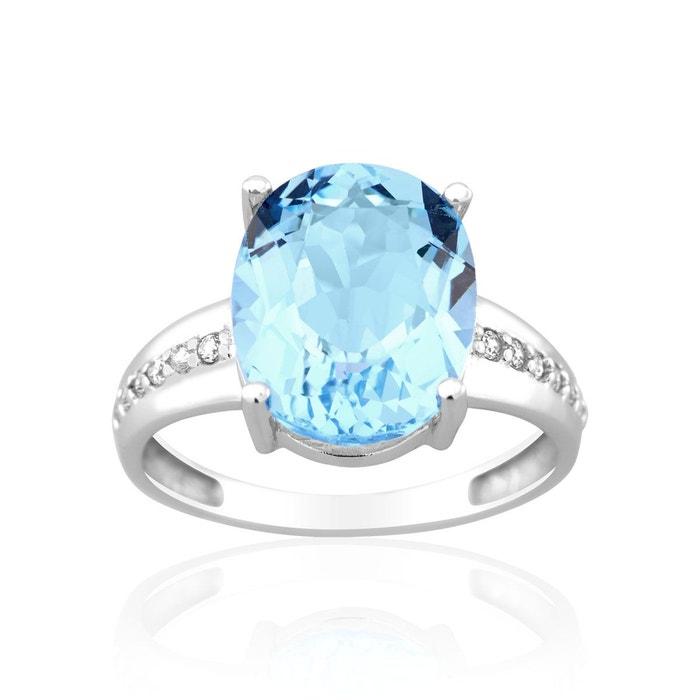 Bague en or 375/1000 blanc, topaze bleue et oxyde bleu Cleor | La Redoute