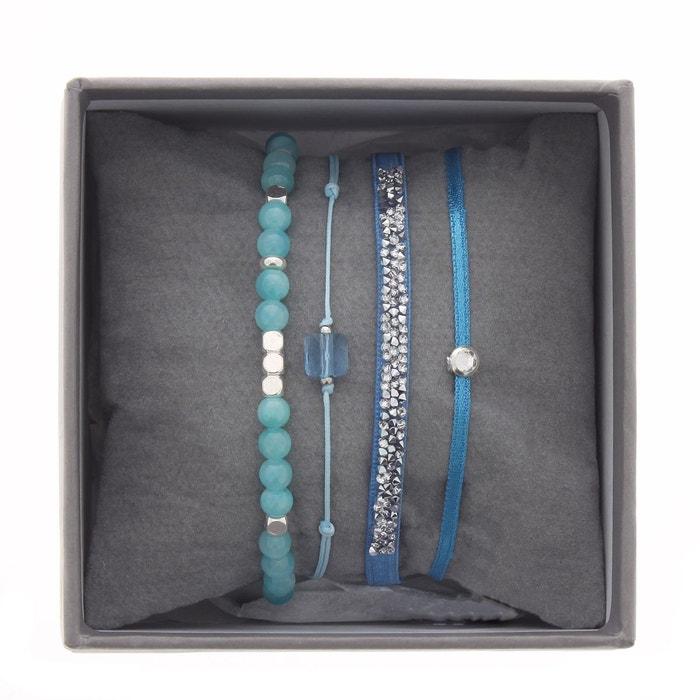 Coffret les interchangeables, bracelets en zamac argenté, satin bleu, cristal blanc et jade blanc Les Interchangeables | La Redoute
