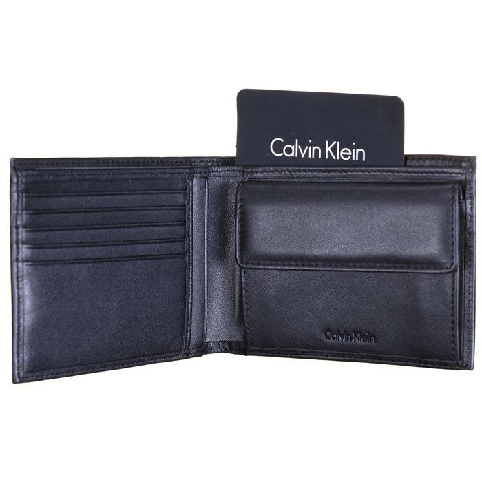 Portefeuille italien Finn Calvin Klein Jeans en cuir noir incrusté CK cwcMN1Wbk2