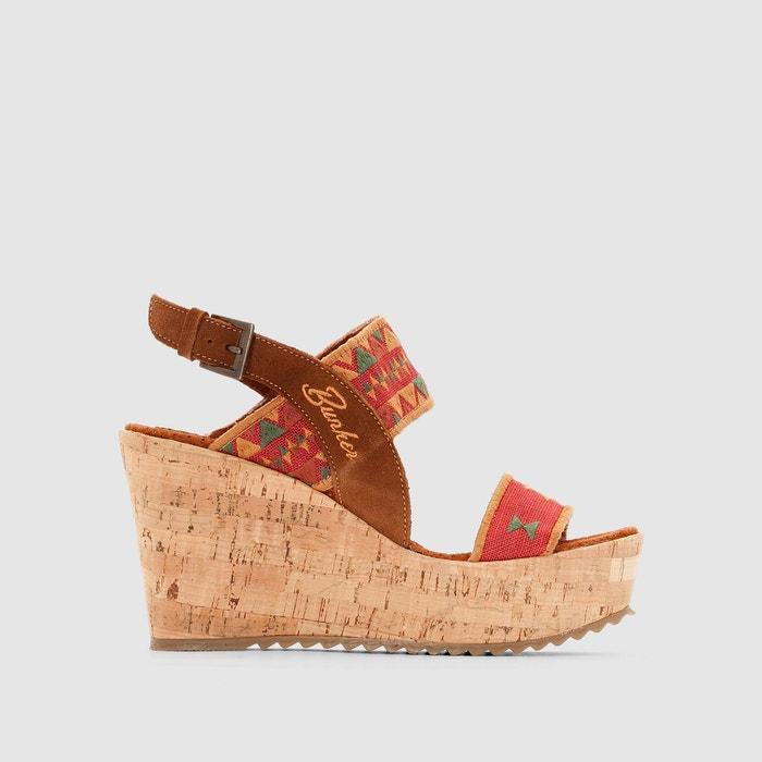 Sandales compensées, cuir et textile imprimé rouge Bunker