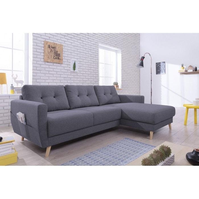 canap scandi angle droit convertible avec coffre gris fonce gris anthracite bobochic la redoute. Black Bedroom Furniture Sets. Home Design Ideas