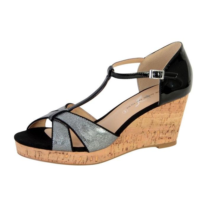 Sandale compensée noir The Divine Factory