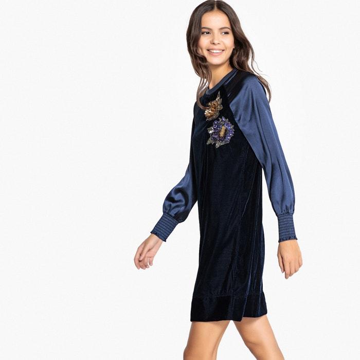 Платье-свитшот с длинными рукавами и вставками из двух материалов