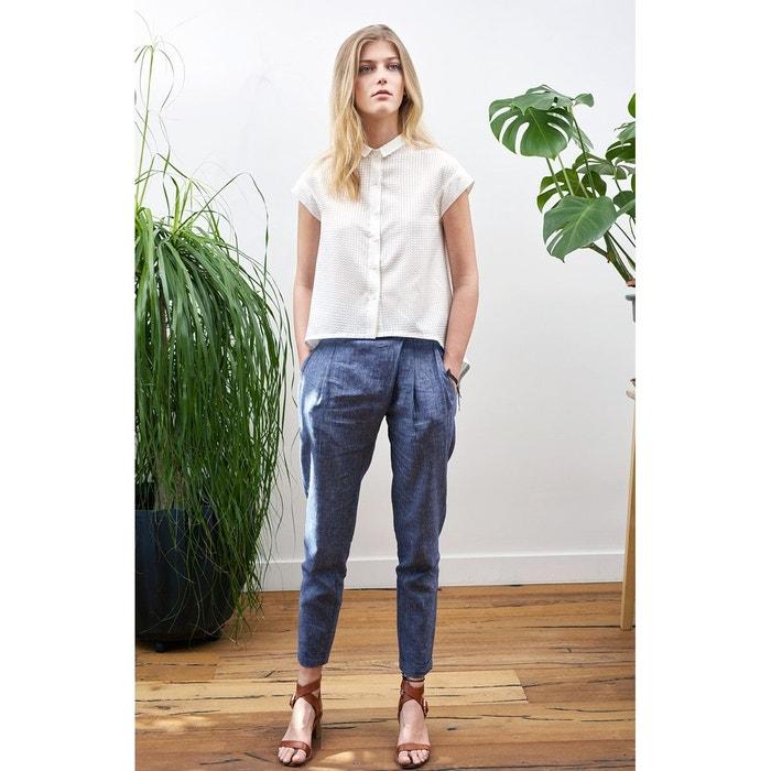 Pantalon chic pour femme décontractée en lin et coton chic et ... 75af27621410