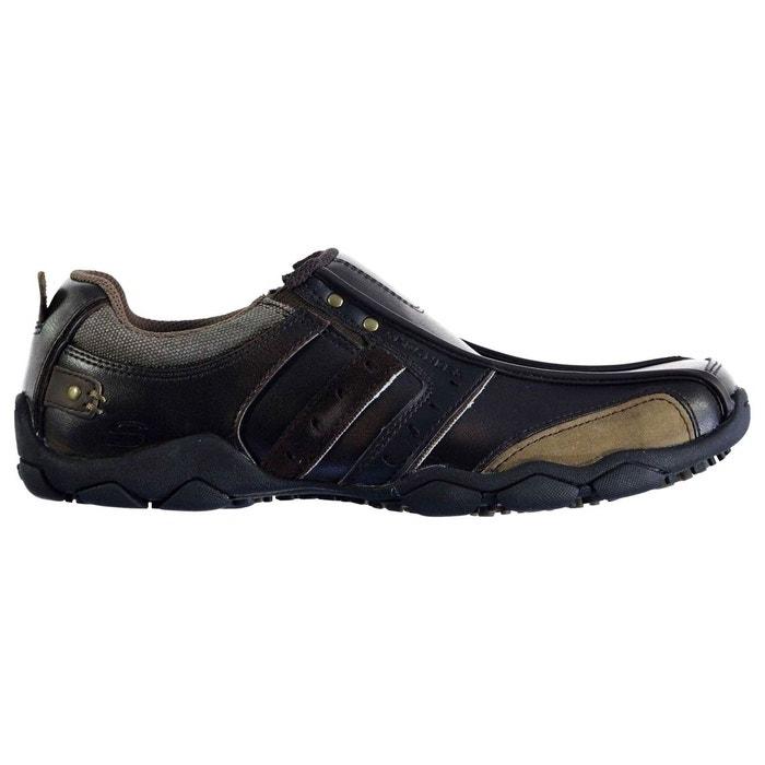 Chaussures décontractées en cuir inserts élastiques marron Skechers