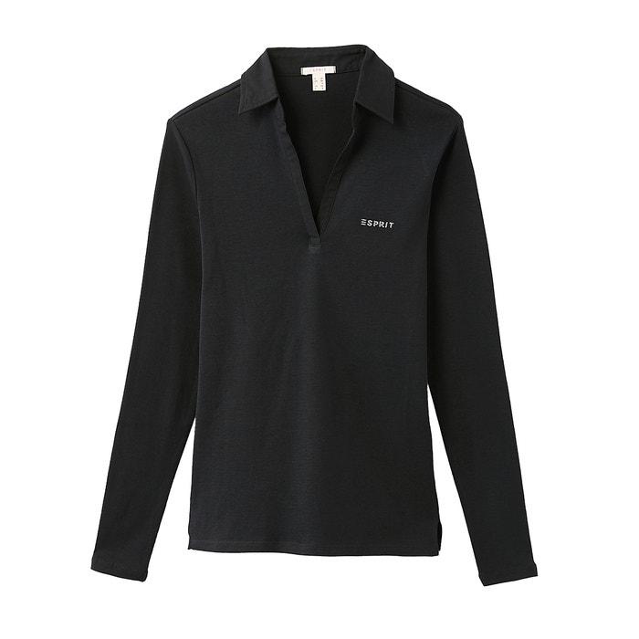La Larga Esprit Manga De Con 100 Cuello Camiseta Algodón Polo 7zCAX