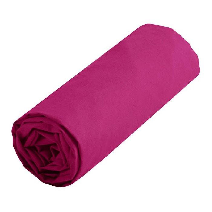 Drap housse rose uni taille 160 x 200 cm lefranc bourgeois Drap housse 160x200 rose