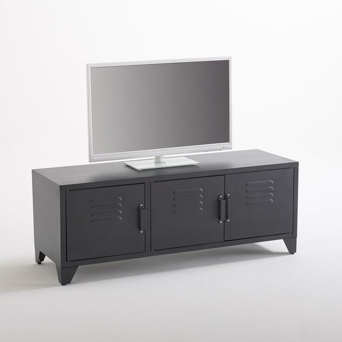 Meuble tv style indus 3 portes noir mat hiba la redoute interieurs noir la redoute for Solde la redoute meuble