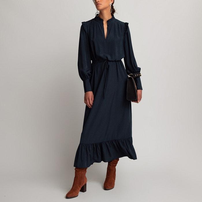 Robe Longue Tissu Satine Jacquard Bleu Marine La Redoute Collections La Redoute