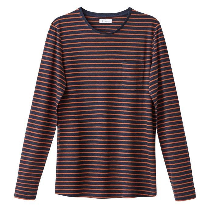 con en de Redoute y a larga rayas Camiseta lino de mezcla cuello redondo manga Collections La nUpBq17UY