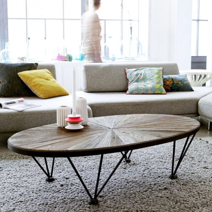 Table basse en m tal et bois d 39 orme 140x80 lancelot m tal for Table 140x80