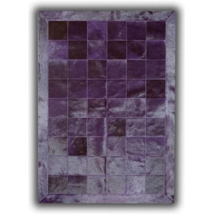 Tapis violet en cuir naturel patchwork burgos violet allotapis la redoute - Tapis patchwork cuir ...
