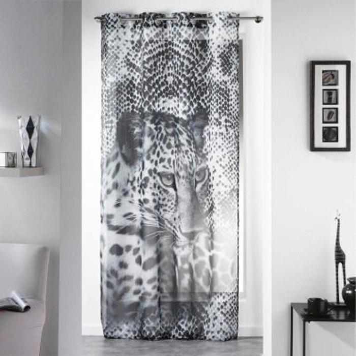 voilage oeillets inox 140x260 leopard noir blanc douceur. Black Bedroom Furniture Sets. Home Design Ideas