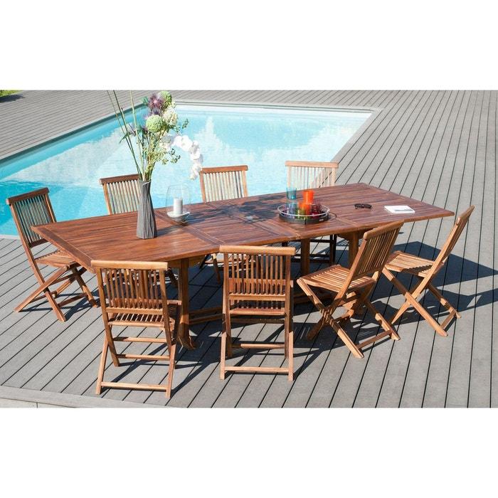 Table de jardin extensible en teck huilé massif 200/300x120x75cm ...