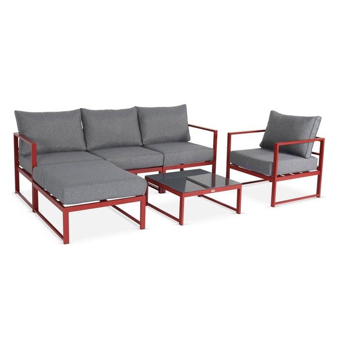 Salon de jardin 5 places acatium en aluminium, structure rouge et ...