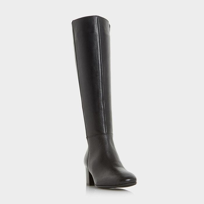 Bottes au genou à talon carré - tarak noir cuir Dune London