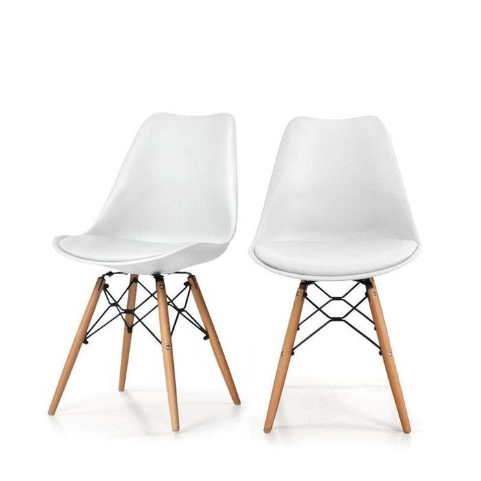 Lot de 2 chaises design metal et bois dogewood drawer la for Chaises blanches modernes