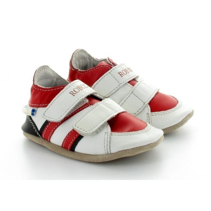 7ec21fb5fc48c Chaussons bébé robeez en cuir souple blanc   rouge blanche Robeez ...