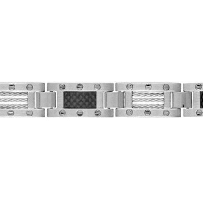 Bracelet homme longueur réglable: 19 à 20,5 cm maillons 3 câbles vis carbone noir acier inoxydable couleur unique So Chic Bijoux | La Redoute
