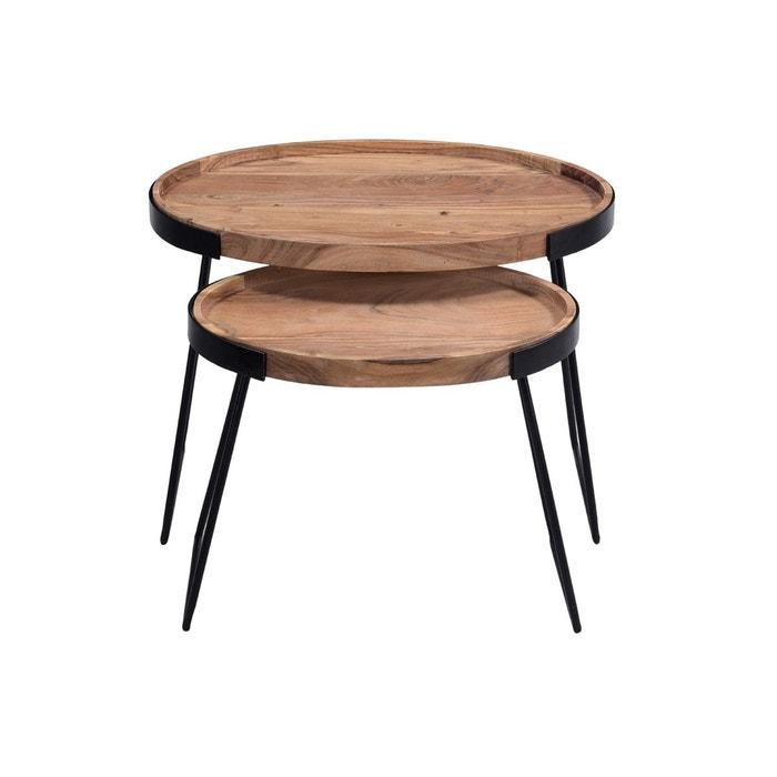 Tables Basses Gigognes Metal Et Acacia Massif Elavo Bois Clair