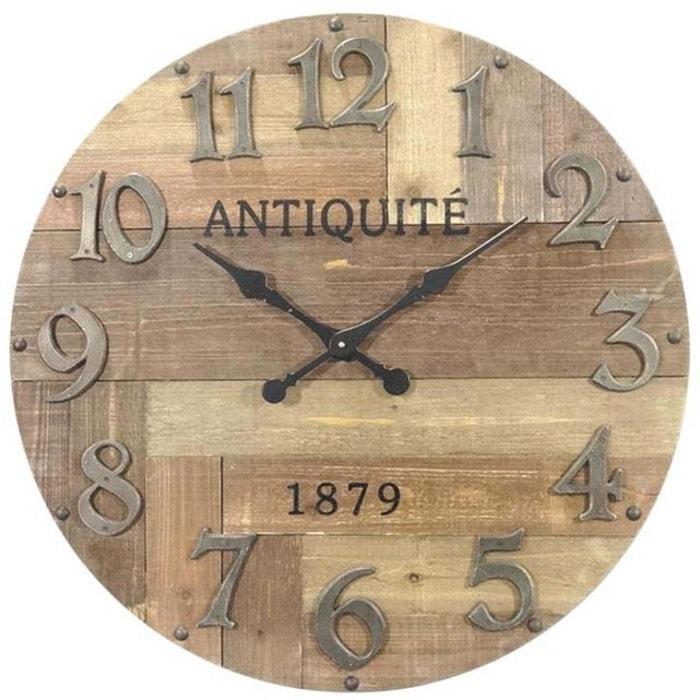 Horloge en bois antiquit marron aubry gaspard la redoute for Pendule murale grande taille