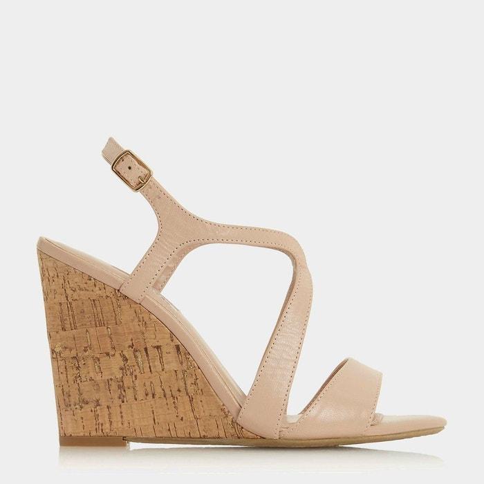 Sandales à talon compensé en liège et brides croisées - mojoe Dune London