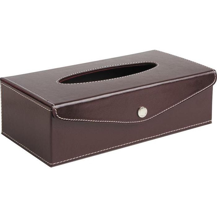 Boite mouchoirs enveloppe en simili cuir marron aubry for Boite a couture la redoute